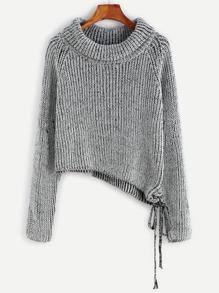 Black And White Marled Raglan Sleeve Asymmetric Sweater