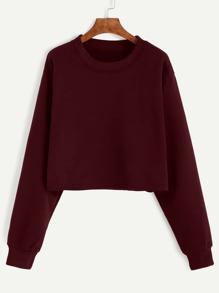 Burgundy Drop Shoulder Crop Sweatshirt