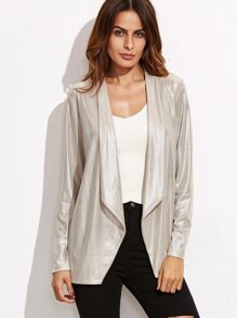 Apricot Metallic Shawl Collar Blazer
