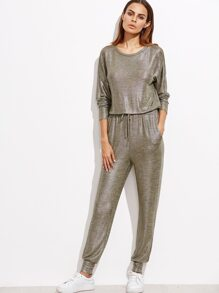Champagne Coated Keyhole Back Drawstring Jumpsuit