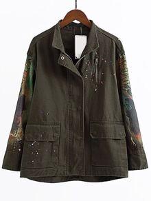 Army Green Graffiti Print Zipper Coat With Pocket