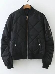 Black Diamond Pattern Quilted Jacket
