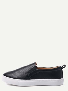 Black PU Slip On Plimsolls