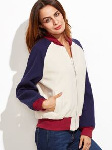 Color Block Raglan Sleeve Zip Up Bomber Jacket