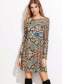 Multicolor Paisley Print Tunic Dress
