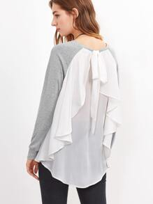 Heather Grey Contrast Ruffle Back Mixed Media T-shirt