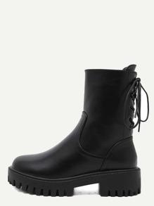 Black PU Lace Up Mid Calf Platform Boots