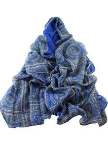 Blue Ethnic Style Geometric Printed Voile Wide Scarf
