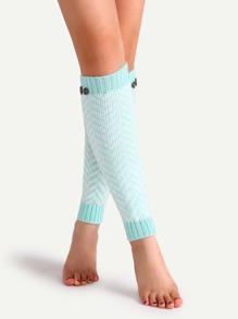 Lake Blue Textured Button Knit Leg Warmers