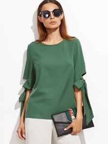 Green Keyhole Back Bow Tie Sleeve Top