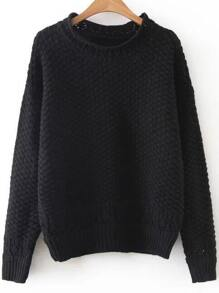 Black Hollow Out Crew Neck Sweater