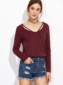 Burgundy Strappy Curved Hem T-shirt