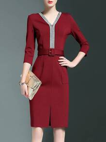 Burgundy V Neck Belted Pockets Sheath Dress