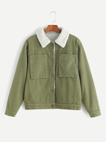 Army Green Single Breasted Faux Shearling Lined Coat