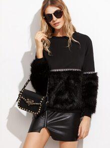 Black Mixed Media Faux Fur Sweatshirt