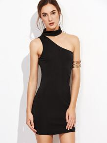 Black One Shoulder Choker Bodycon Dress