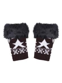 Black Faux Fur Trim Knit Fingerless Gloves