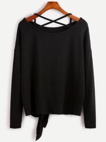 Black Drop Shoulder Criss Cross Tie Front T-Shirt