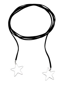 Black Cord Silver Star Pendant Wrap Choker Necklace