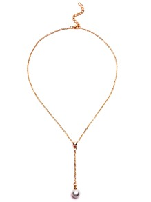 Gold Plated Faux Pearl Pendant Y Necklace