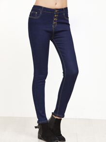 Blue Single Breasted Denim Pants