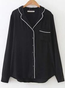 Black Contrast Trim Pocket Blouse