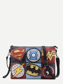 Multicolor Logo Print Studded Crossbody Bag
