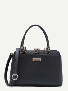 Black PU Zip Closure Handbag With Strap