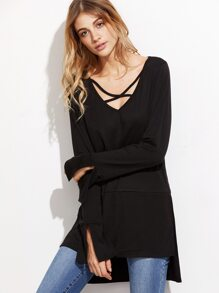 Black Crisscross V Neck High Low T-shirt