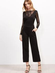 Black Contrast Lace Zipper Back Jumpsuit