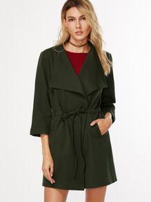 Army Green Three Quarter Length Sleeve Drawstring Waist Coat