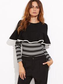 Black And White Striped Ruffle Trim Ribbed Bodysuit