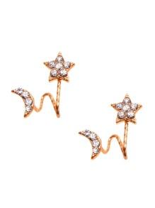 Gold Plated Rhinestone Star Moon Stud Earrings
