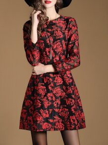 Red Sheer Jacquard Pockets A-Line Dress