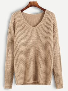 Apricot Ribbed Knit Drop Shoulder Sweater