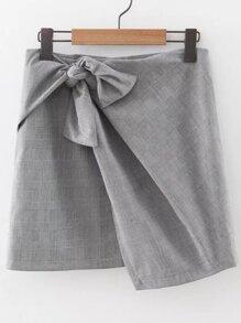 Grey Plaid Knotted Asymmetrical Skirt