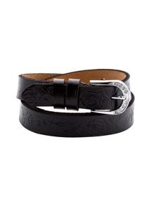 Black Floral Knurling Buckled Belt