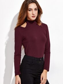 Burgundy Cut Out Mock Neck T-shirt