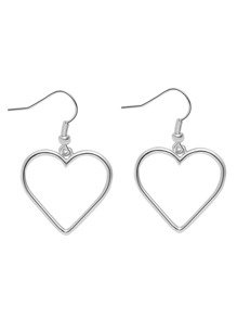 Silver Plated Heart Hollow Out Drop Earrings