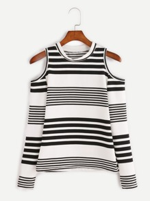 Contrast Striped Open Shoulder Knitted T-shirt