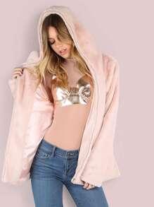 Pink Faux Fur Zip Up Coat