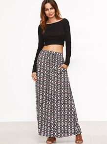 Multicolor Tribal Print Drawstring Waist Skirt