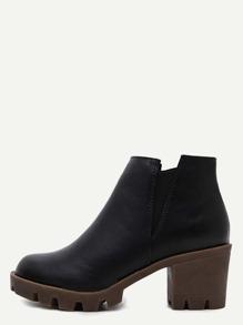 Black Distressed PU Elastic Chunky Heel Ankle Boots