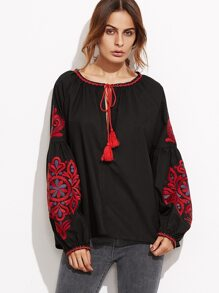 Black Tassel Tie Neck Lantern Sleeve Embroidered Top