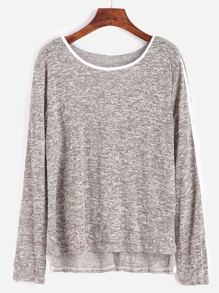 Striped Trim High Low T-shirt