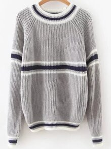 Grey Striped Raglan Sleeve Sweater