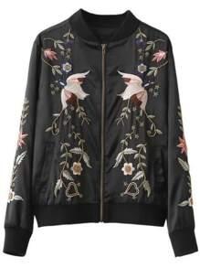 Black Bird Embroidery Zipper Up Jacket