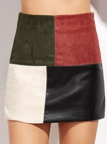 Contrast Patchwork Zipper Detail Skirt
