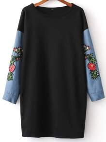 Black Beading Embroidery Contrast Denim Sleeve Sweatshirt