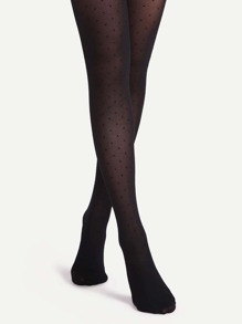 Black Polka Dot Sheer Pantyhose Stockings